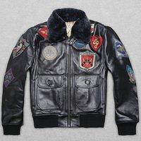 erkek deri uçuş ceketi toptan satış-AVIREX 2019 gerçek kürk yaka cowskin uçuş ceket erkekler ceketin bir erkek hakiki deri ceket motosiklet