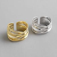 ficelle d'or achat en gros de-Nouveau or blanc / or 18 carats couleur enroulement ouvert bagues 100% argent sterling 925 multi couche couche Twining anneau réglable