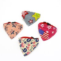 Wholesale ribbon dog collars resale online - Multi Colors Cats Saliva Towel Ribbon Printing Pattern Cat Doggy Collar Pet Dog Accessories Triangle Towels qq L1