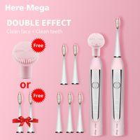ultrasonik diş fırçası toptan satış-BURADA-MEGA Sonic Elektrikli Diş Fırçası USB Şarj edilebilir Değiştirilebilir Temizleme Fırçası Başkanı Yükseltildi Ultrasonik Beyazlatma Diş Yetişkin