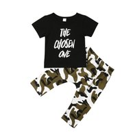 clothing camouflage shirts оптовых-Baby Outfit Boys Clothing Set Camouflage T-shirts Tops Pants Cotton Baby Tracksuit Kids Boys Clothes Outfits Childern Clothes