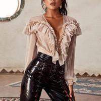 neue sexy heiße damefrauen großhandel-Frauen Designer Sommer Overalls 2019 Neue Heiße Verkauf Frauen V-ausschnitt Langärmelige Sexy Strampler Damen Dünne Spitze Rüschen Einfarbige Overalls