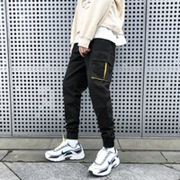 ingrosso maschio legato-2019 Cotone da uomo Altro Pocket Pantaloni Bound Feet Moda Casual Pantaloni Uomo Nero / khaki Color Jogging Pantaloni sportivi Big Size M-5XL