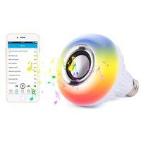 ingrosso luci di display a led senza fili-RGB Bluetooth Speaker Smart led Lampadina E27 Light 12W Music display a led Dimmerabile Lampada wireless a led Lampada con controllo del sensore sonoro