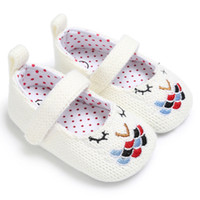 Wholesale knit fabric flowers for sale - Group buy 2 colors new arrivals Soft bottom anti skid baby First Walkers Knitted Embroidery Flower Girl baby First Walkers shoes