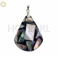 lila pfau schmuck großhandel-Ocean Beach Jewelry Paua Abalone Muschel Anhänger Blau Grün Lila Pfau Farben Natürliche Shell 10 Stücke