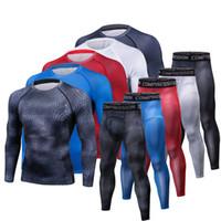 base layer toptan satış-Erkekler T Shirt Pantolon Set 2 Parça erkek Spor Sıkıştırma Takım Joggers Spor Baz Katman Gömlek Tayt Rashguard giysi