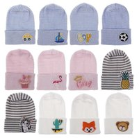 Wholesale animal hospital for sale - Group buy Baby Girls Hat Animal Fruit Autumn Winter Warm Cap Enbroidery Newborn Infant Toddler Comfy Hospital Cap Warm Beanie Knit Hat