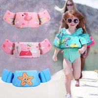 schwimmwesten schaum großhandel-Kinder Flamingo Schwimmweste Baby Arm Ring Schwimmweste Schwimmt Schaum Sicherheit Jacke Cartoon Pool Wasser Schwimmweste Kinder Badeanzug GGA2210