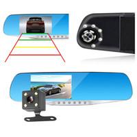 "2Ch 1080P full HD 4.3"" dual lens car DVR auto digital dashcam mirror recorder 170 degrees night vision G-sensor parking monitor"