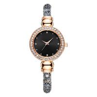 modelos de senhora negra venda por atacado-2019 Novo Modelo de Moda de Luxo Mulheres Relógios de Diamante de Ouro Rosa De Prata Preto Designer Especial Lady Vestido Pulseira de Relógio de Pulso de Quartzo
