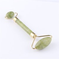 массаж лица камнями оптовых-Facial Massage Roller Double Heads Jade Stone Face Lift Hands Body Skin Relaxation Slimming Beauty Health Care