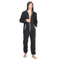 onesies para homens venda por atacado-Centuryestar One Piece Pijamas Onesie Para Adultos Homem Com Capuz Pijama Hombre Una Pieza Casa Mens Sleepwear Com Qualidade Tmall