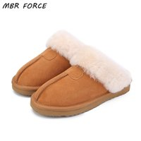 Wholesale MBR FORCE Natural Fur Slippers Fashion Female Winter Slippers Women Warm Indoor Slippers Quality Soft Wool Lady Home Shoes