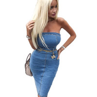 женский пакет оптовых-Women Sexy Package Hip Strapless Dresses Fashion Denim Skirt Bodycon Dresses Female Summer Brief Jean Clothing