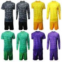 leere team-uniformen großhandel-2019 2020 Fußball Trikots Torwart Uniform Kit Erwachsene Männer Torwart Blank T-Shirt Ohne Team Logo Mit Ad Langarm Fußball Trikot