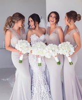 Wholesale satin western dresses for sale - Group buy 2020 New Elegant Mermaid Long Bridesmaid Dress For Wedding Party Chiffon Floor Length Western Country Guest Maid of Honor Gowns