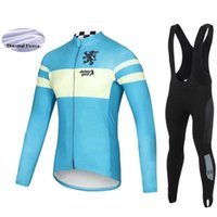 Wholesale 2019 Racing Suit Wear Winter Bicycle Clothes Outdoor Cycling Jersey Long sleeve Bib tights Windproof sets Thermal Fleece Kits STOLEN GOAT