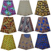 material de ropa africana al por mayor-Tela de cera hollandais africana nigeriana ankara dorada dorada verdadera, flor de agua 100% algodón material de ropa africana