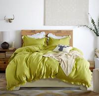juego de edredón de cama queen verde al por mayor-Juego de cama verde estilo americano Juego de cama tamaño queen tamaño king size 3 piezas (1 funda nórdica + 2 fundas de almohada) Textiles para el hogar Juegos de cama de edredón