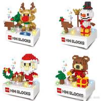 Wholesale santa figures resale online - Christmas Building Blocks D Assembly Santa Claus snowman deer bear ABS Plastic Miniature Action Figures box package For Kids toys