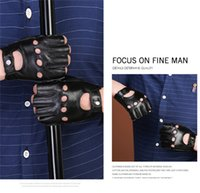 Wholesale checked mittens resale online - Fashion Man Pu Fingerless Gloves Riding Outdoor Sports Gloves Leather Mittens Spring and Summer Fashion Accessories