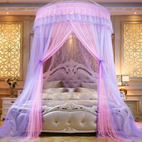 Wholesale colorful adult bedding resale online - Colorful Mosquito Net vintage Princess Insect Net Single door Hung Dome Bed Canopies Netting Round Mosquito lace home decor Net FFA2635