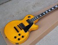 эбеновое гитарное переплетение оптовых-Идеальная желтая электрогитара с черным оборудованием, Ebony Fretboard, переплет ладов, Fixed Bridge, можно изменить