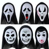 máscaras de grito venda por atacado-Assustador Máscara Preta 6 estilos Halloween Crânio Grito Zombie Fantasma Demônio PVC para Traje de Festa de Natal Cosplay Masquerade Adulto Todo o Rosto