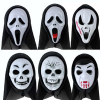 ingrosso costume fantasma nero-Scary Black Mask 6 styles Halloween Skull Scream Zombie Ghost Demon PVC for Party Costume Cosplay Natale Masquerade Adult Whole Face