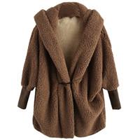 ingrosso cardigan soffici-Moda Fluffy oversize manica a pipistrello Faux Fur Coat Full Sleeve con cappuccio Cardigan solido Capispalla Cardigan in pelliccia sintetica