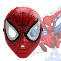 animasyon aksesuarları toptan satış-Örümcek Adam Maske LED Masquerade Çocuk Tam Yüz PVC Cosplay Animasyon Plastik Çocuklar Işın Maskesi Cadılar Bayramı Partisi Kostüm Akse ...