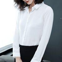 mujer hermosa blusas blancas al por mayor-2019 blusa de gasa mujer camisa de manga larga en blanco y negro tops de oficina dama hermosa mujer 2060 50