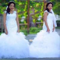 Wholesale beautiful mermaid wedding dresses train resale online - Beautiful Wedding Dresses Mermaid Cap Sleeves V Neck Lace Tulle Layered Bridal Gowns Long Wedding Tuxedos