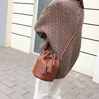 Wholesale polyester drawstring bags for sale - Group buy 2019 Vintage Fashion Small Women Bucket Bags Female Pu Leather Tassel Shoulder Bags Girls Drawstring Messenger Crossbody Bag