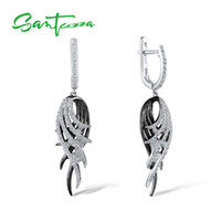 Wholesale 925 sterling silver feather charms resale online - SANTUZZA Silver Feather Drop Earrings For Women Sterling Silver Earrings Black White Feather Fashion Jewelry V191114