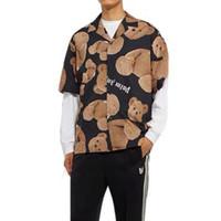 camisas casuais de luxo para homens venda por atacado-19SS Palm Angels Urso Impresso Camisas Casaco Tops de Luxo Primavera Outono Homens Mulheres T-shirt Ocasional Rua Sol Proteção Jacket Tee HFYMTX557