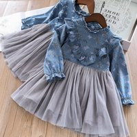 Wholesale baby western clothing for sale - Everweekend Baby Girls Patchwork Cheery Butterfly Print Denim Tutu Western Clothes Party Holiday Spring Summer Fashion Kids Dress