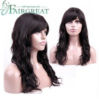 Wholesale remy human hair bangs for sale - Body Wave Human Hair Wigs For Black Women With Bang Peruvian Hair None Remy Hair No Lace Wigs For Women Peruvian Body Wave