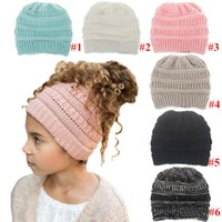 Wholesale child crochet muff resale online - Kids Girls Brand Ponytail Caps Knitted Beanies Winter Warm Crochet Hats Children Outdoor Skull Caps Label Soft Slouchy Pony tail Cap C91803