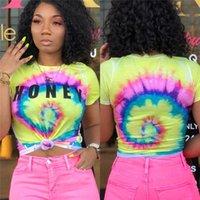 3d tshirt sexy großhandel-Bunte dünne Frauen Designer Tshirt 3D Print Kurzarm Damen Tops Mode Frauen Sommer Sexy Tees