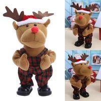 аккумуляторные куклы оптовых-The new Christmas electric toy battery packs Christmas deer cloth dolls