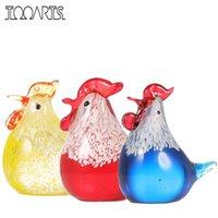 ingrosso mini figurine animali-Tooarts Cute Mini animali Figurine di vetro Piccolo pollo Craft Home Decor Scultura di arte moderna regalo Accessori Decorazione della casa