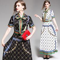 klasik elbiseler yarım kol toptan satış-2019 Pist Klasik Lüks Baskı Gömlek Maxi Elbiseler Kadın Bayanlar Casual Şerit Kravat Yaka Yarım Kol Düğmesi A-line Robe dizayn edilmiş elbiseler