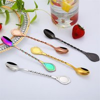 Wholesale mixing plate online - New stainless steel coffee spoon creative titanium plated spiral stirring spoons bar mixing spoon long handle spoon T8I075