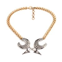 Wholesale metal arrow glasses resale online - fashion jewelry accessories vintage metal crystal arrow necklaces