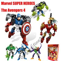 capitão américa figuras venda por atacado-Vingadores Boneca Brinquedos Marvel Super Heroes Boneca Bloco DIY Novos Vingadores 4 Homem De Ferro Capitão América Figuras de Ação Blocos Boneca