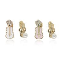 musikalische perlen groihandel-Süße Perle Musiknote Ohrringe Kristall Blume Rosa Weiß Violine Gitarre Clip Ohrringe Für Frauen Nettes Geburtstagsgeschenk
