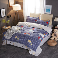 Wholesale plaid full bedding sets for sale - Group buy Whale Bedding Set Shellfish Cartoon Creative Lattice Duvet Cover King Size Queen Full Twin Single Comfortable Bed Cover with Pillowcase