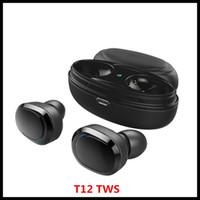 auriculares andriod al por mayor-T12 TWS gemelos 5.0 Bluetooth auriculares estéreo para auriculares Auriculares Auriculares de inalámbrico con cargador magnético de la caja de Andriod Smartphone
